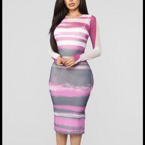 Mesh striped fashion nova midi dress